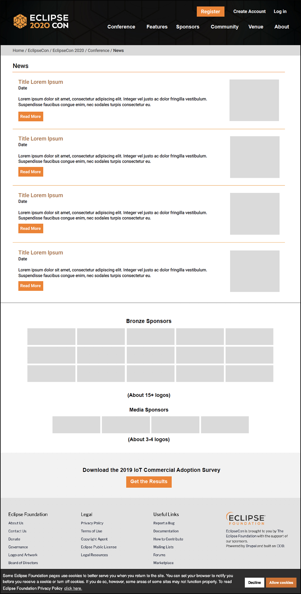 EclipseCon Website News Page Wireframe